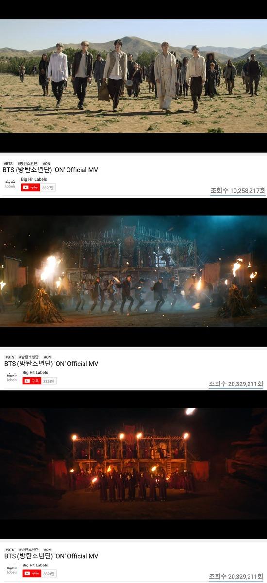 방탄소년단이 28일 0시 새 앨범 타이틀곡 ON의 두 번째 뮤직비디오를 공개했다. 뮤직비디오는 공개 65분 만에 1000만 뷰를 돌파했다. /캡처