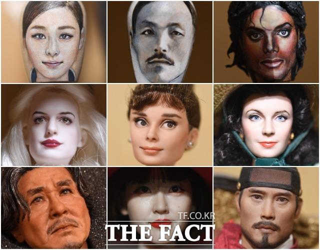 김 작가가 목각(위)과 바비인형(가운데), 자체 제작한 인형(아래) 등 다양한 오브제에 표현한 인물들.