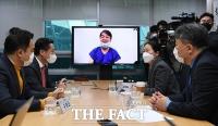 [TF포토] 발언하는 권은희 최고위원, '화상으로 참석한 안철수'