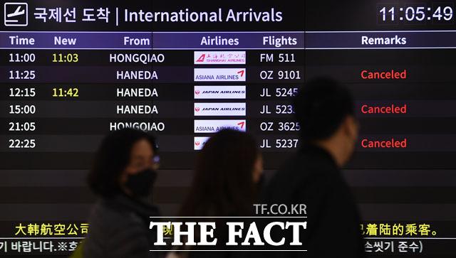 한·일 양국에 대한 입국 제한조치가 실행된 9일 오전 서울 강서구 김포국제공항 입국장에 결항된 일본 항공편이 공지돼 있다. /김포국제공항=남윤호 기자