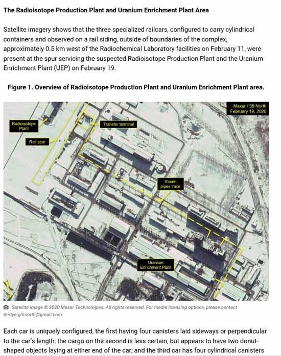 13일(현지시간) 미국 북한 전문매체 38노스가 지난달 북한이 영변 핵시설 단지 내의 움직임이 포착됐다고 보도했다. /38노스 누리집 갈무리