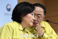 [TF포토] 대화 나누는 박영선 장관과 홍남기 부총리