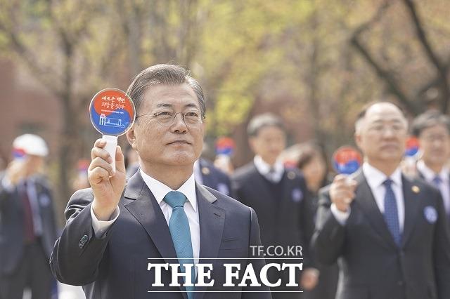 제101주년 대한민국 임시정부 수립 기념식에 참석한 문재인 대통령. /청와대 제공