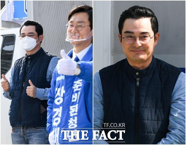 뜻밖의 친분 배우 이세창(왼쪽)이 9일 오후 서울 동대문구 전농사거리에서 장경태 동대문을 더불어민주당 후보의 지원 유세를 하고 있다.