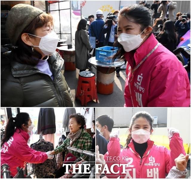 재선 도전 지상욱 (성동을) 미래통합당 후보의 부인 심은하 씨가 7일 오후 중구 약수동 소재 약수시장 인근을 방문해 시민들에게 인사를 하고 있다.