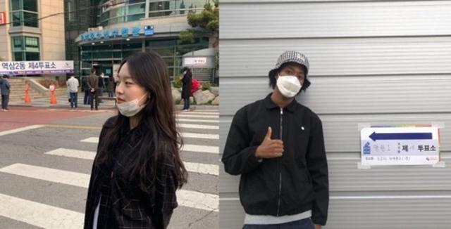 배우 이수민(왼쪽)과 모델 한현민은 2001년생으로 올해 생애 첫 투표를 했다. /이수민, 한현민 SNS