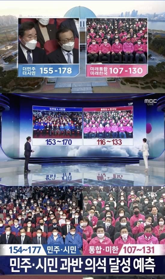이번 총선은 높은 사전투표율로 인해 출구조사 결과 예측률이 떨어졌다. /KBS, MBC, SBS 개표 방송 캡처