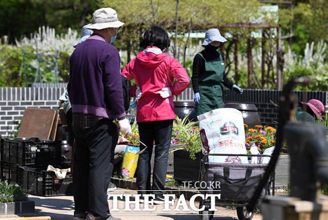 공원 한쪽에서는 전염은 고려하지 않고 텃밭가꾸기에 여념이 없다.