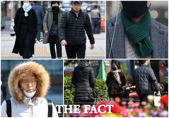 꽃샘추위가 이어지고 서울 아침 최저기온이 5도를 기록한 23일 오전 서울 광화문광장 일대에서 시민들이 발걸음을 재촉하고 있다. /남용희 기자