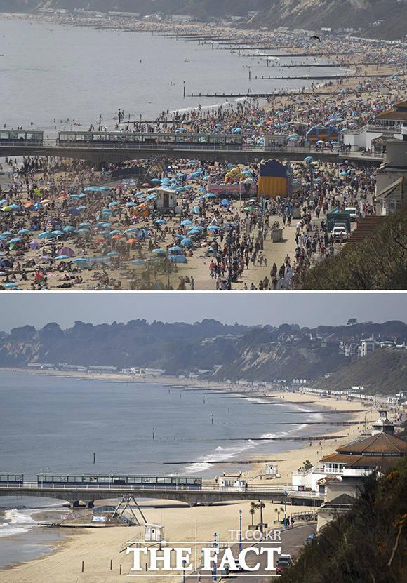 사회적 거리두기 및 해변 출입을 제한한 영국의 본머스 해변.