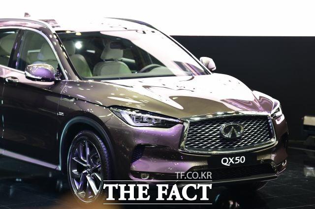 일본차 브랜드는 지난해 말 대대적인 할인 정책으로 판매량을 끌어올렸지만, 올해 코로나19 여파로 다시 내림세다. 사진은 인피티니 SUV QX50. /더팩트 DB