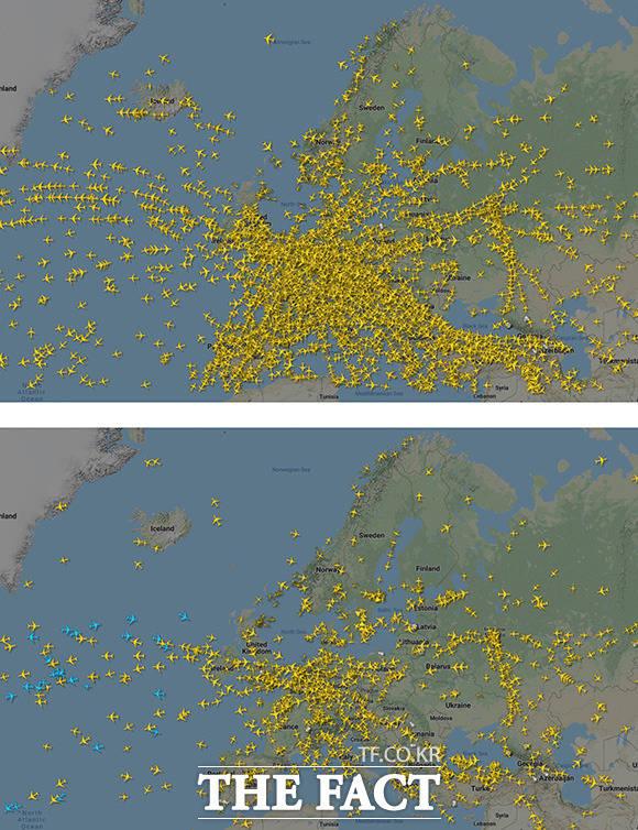 스웨덴의 항공기 추적 사이트 플라이레이더24에서 발표한 코로나19 전후의 비행기 이동 경로. 눈에 띄게 줄어든 모습이다.