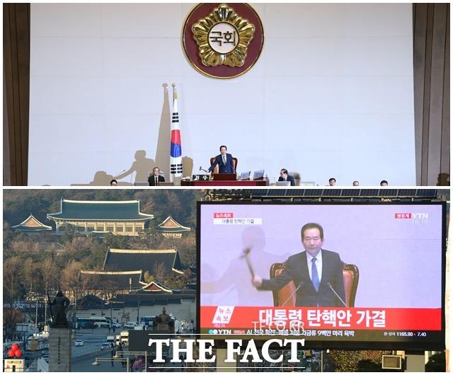 2016년 12월 9일 박근혜 대통령의 탄핵소추안이 국회에서 가결됐다. 이듬해 3월 10일 헌법재판소는 재판관 전원일치로 탄핵소추안을 인용해 헌정사상 처음으로 대통령 탄핵이 이루어졌다. /더팩트 DB