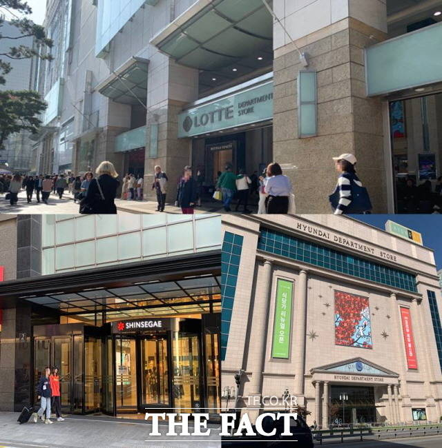 롯데·현대·신세계백화점이 코로나19 직격탄에 올해 1분기 최악의 실적을 기록했다. /한예주 기자