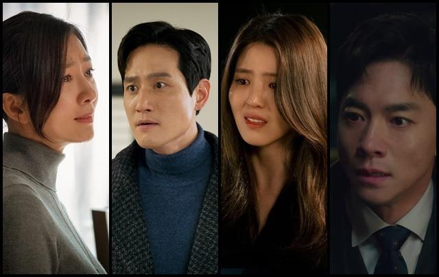 부부의 세계는 김희애(왼쪽부터) 박해준 한소희 김영민의 열연이 돋보였다. 그들은 처연하게 울다가도 서로를 향해 죽일듯 달려든다. /JTBC 제공