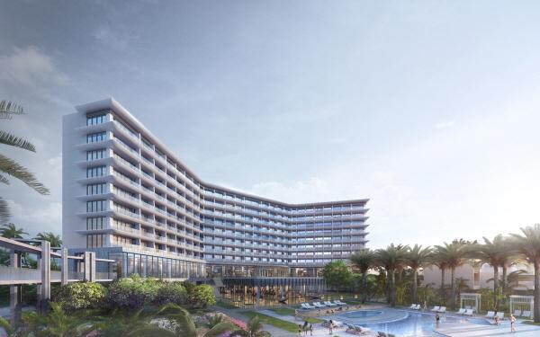 호텔신라가 코로나19로 한 차례 미뤘던 베트남 다낭 호텔을 다음 달 개장한다. 사진은 신라모노그램 다낭 조감도. /호텔신라 제공