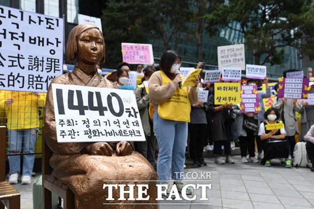 한편, 홍콩매체 사우스차이나모닝포스트(SCMP)는 지난 20일 위안부가 한국의 정치적인 희생양이 되나라는 기사를 보도했다. 지난 20일 제1440회 정기 수요집회. /임세준 기자