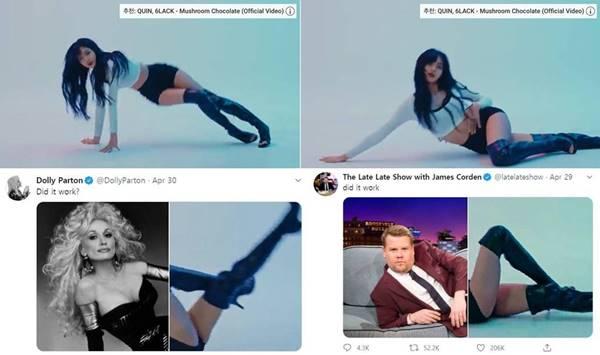 블랙핑크의 멤버 리사는 자신의 유튜브 계정에 LILIs FILM #3 - LISA Dance Performance Video 영상 속 한 장면을 공개했다. 이후 해외에서 리사의 다리와 합성하는 사진이 유행처럼 번지고 있다. 최근에는 영국 출신 배우 제임스 코든과 미국 가수 겸 배우 돌리 파튼이 챌린지에 참여하기도 했다. /리사 유튜브 영상 캡처·Dolly Parton과 James Corden의 SNS