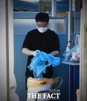 [TF포토] 사용한 방호복 폐기하는 의료진