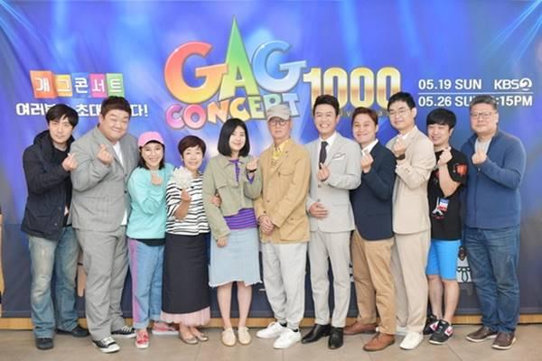 방송사 내부 기류에 민감한 출연자들 사이에서는 이미 폐지를 기정사실로 받아들이고 있다. 사진은 개그콘서트 1000회 당시 기념사진을 촬영한 출연자들. /KBS 제공