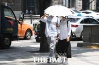 [TF포토] '양산으로 막아보는 열기'