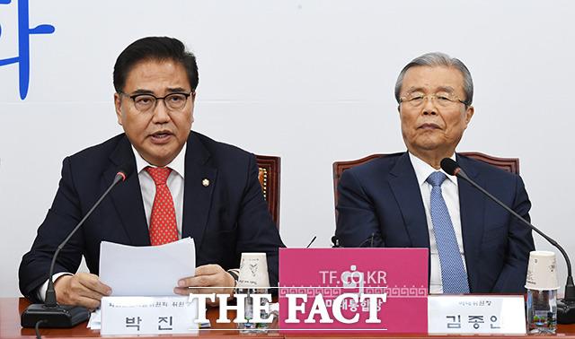 발언하는 박진 외교안보특위 위원장(왼쪽)
