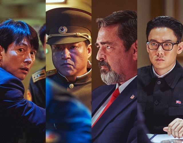 강철비2에서 정우성은 대한민국 대통령, 곽도원은 북 쿠테타의 주동자가 된다. 앵거스 맥페이든과 유연석(왼쪽부터)은 미국 대통령, 북 위원장을 맡는다. /롯데엔터테인먼트 제공