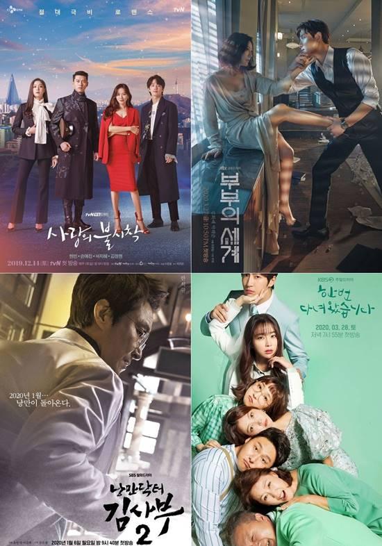 올해 3월 코로나19 확진자가 급증하면서 언택트 시대를 맞은 방송가는 시청률이 이전보다 소폭 상승하는 모습을 보였다. 여기에 시청률 20%가 넘는 드라마가 4편이 탄생했다. tvN 사랑의 불시착, JTBC 부부의 세계, SBS 낭만닥터 김사부2, KBS2 한 번 다녀왔습니다(왼쪽 상단부터 시계방향) 포스터 /각 방송사 제공