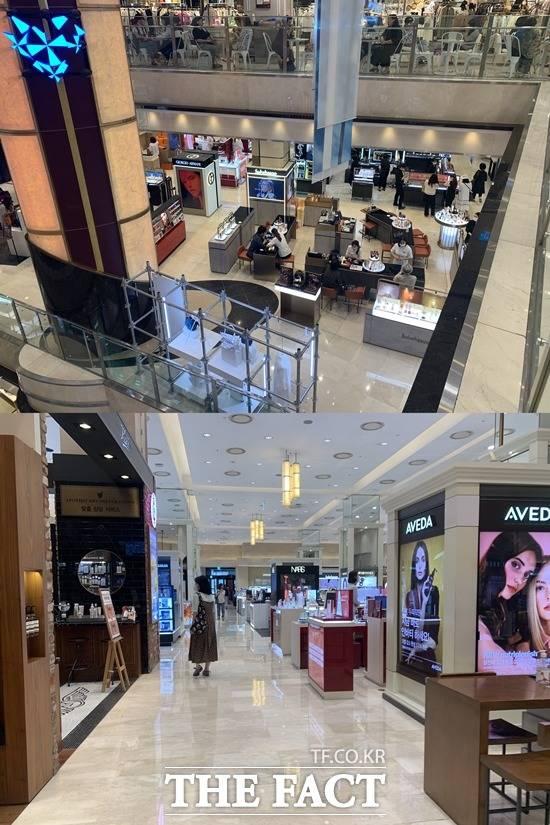대한민국 동행세일 첫날 롯데백화점 본점(위)과 신세계백화점 본점 1층 화장품 매장을 찾은 고객은 많지 않았다. /문수연 기자
