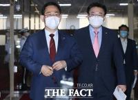 [TF사진관] '또 협상 결렬?'…어두운 표정으로 국회의장실 나서는 여야 원내대표