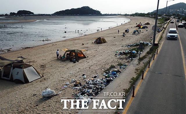 피서객들의 건강을 위협하는 쓰레기.