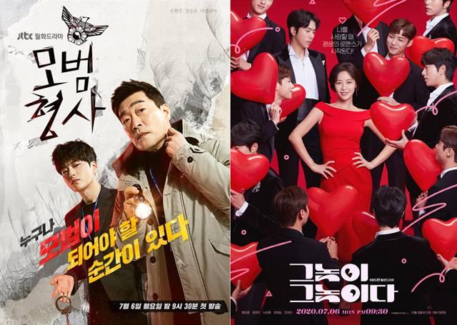 손현주와 장승조가 주연을 맡은 JTBC 모범형사(왼쪽)은 수사극 장르고 KBS2 그놈이 그놈이다는 황정음을 주연으로 한 로맨틱 코미디 장르의 드라마다. / JTBC·KBS2 제공