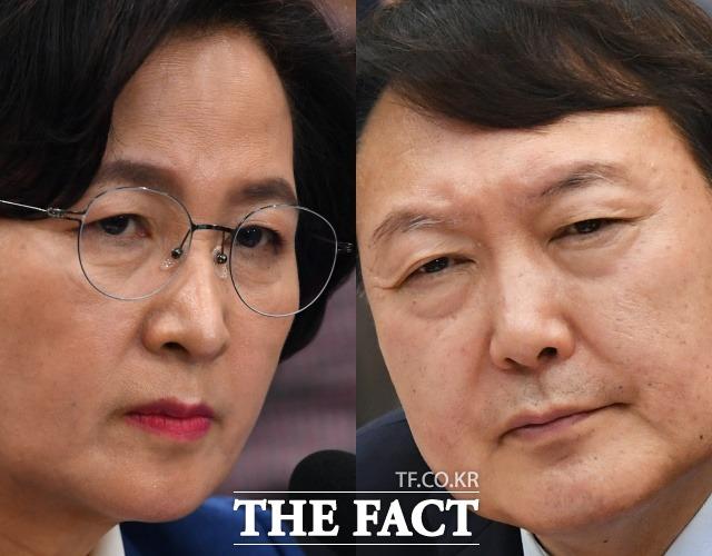 추미애(왼쪽) 법무부 장관과 윤석열 검찰총장. /더팩트 DB
