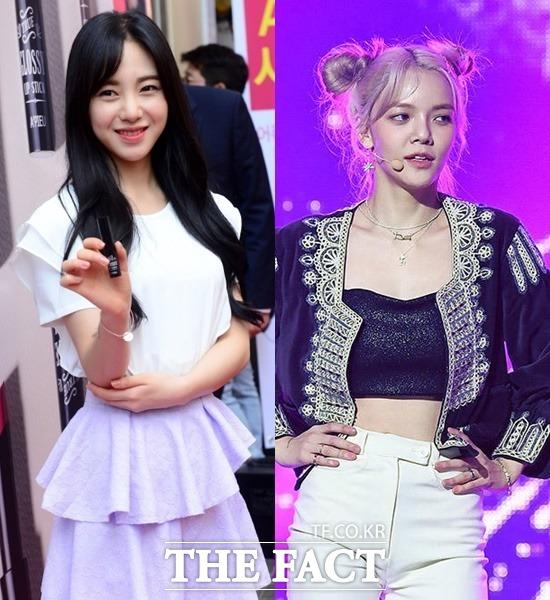 AOA 출신 배우 민아(왼쪽)가 멤버였던 지민의 괴롭힘 때문에 팀을 탈퇴했다고 폭로했다. /더팩트 DB