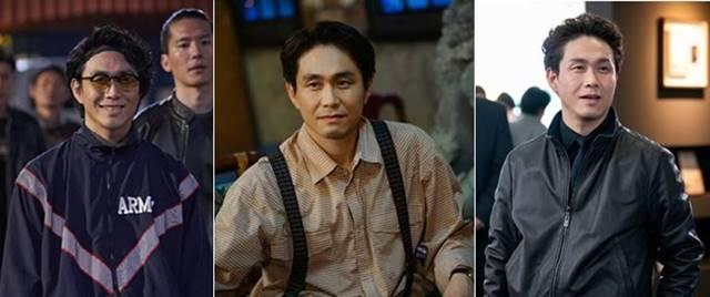 배우 오정세가 지난해 1월 개봉한 영화 극한직업 테드 창 역부터 드라마 동백꽃 필 무렵 노태규, 모범형사 오종태 역까지(왼쪽부터) 전혀 다른 캐릭터들을 완벽하게 소화해 대중에게 호평을 받고 있다. /영화 극한직업 캡처·KBS2·JTBC 제공
