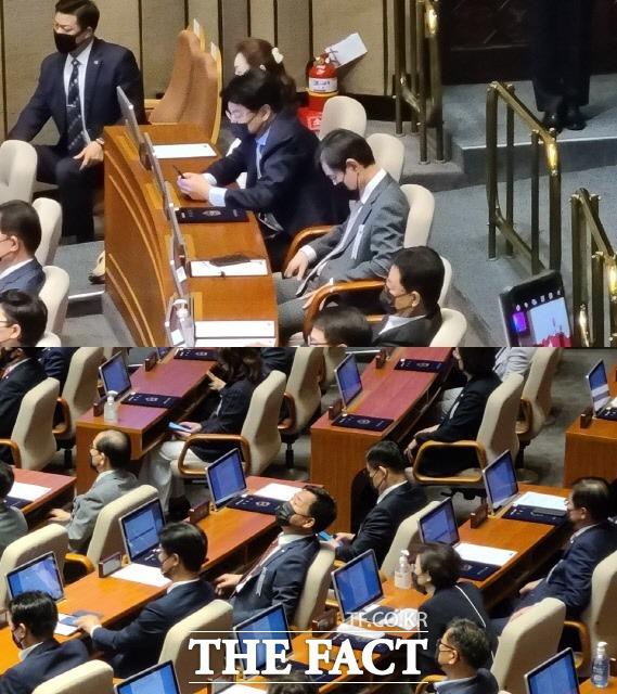 16일 국회 본회의장을 가득 메운 의원 대다수는 문재인 대통령 연설을 경청했다. 하지만 일부 의원은 휴대폰을 하고, 하늘을 보고, 눈을 감고 있는 등 집중하지 않는 모습을 보이기도 했다. /문혜현 기자
