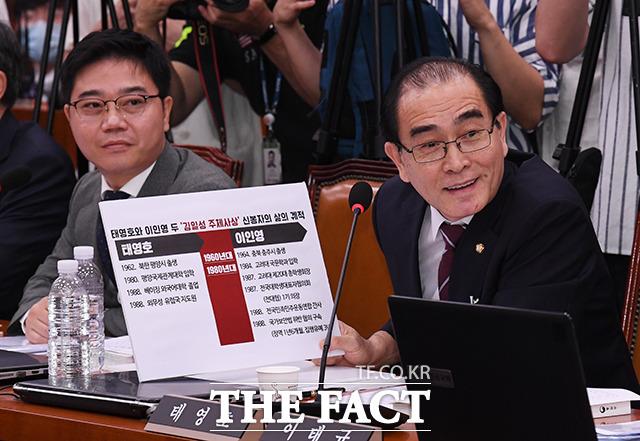 사상 관련 질의하는 태영호 의원(오른쪽)