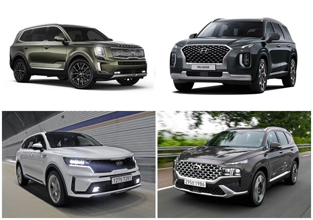 현대차와 기아차는 권역별로 좋은 반응을 얻고 있는 SUV 모델 판매에 집중하고, 다양한 신차 출시로 하반기 실적 반등에 나선다는 전략이다. 텔루라이드, 팰리세이드, 싼타페, 쏘렌토(왼쪽 위부터 시계 방향) /현대·기아차 제공