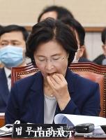 [TF포토] 목캔디 먹는 추미애 장관
