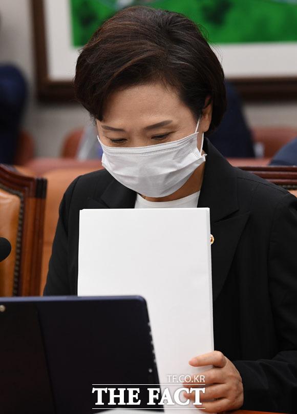 업무보고 위해 국회 찾은 김현미 국토교통부 장관.