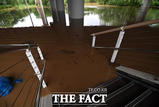 불어난 강물로 막혀버린 육교 계단