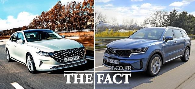 현대차의 그랜저와 기아차 쏘렌토는 지난 6월에 이어 7월에도 브랜드별 베스트셀링 모델에 등극, 내수 판매 실적을 견인했다. /현대·기아차 제공