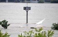 [TF포토] '지붕만 남겨놓고 물에 잠긴 한강공원'