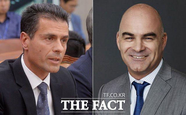 수입차 업체 CEO들의 무책임한 태도와 언행이 눈살을 찌푸리게 하고 있다. 디미트리스 실라키스(왼쪽) 전 메르세데스-벤츠코리아 사장은 도피성 출국으로 검찰 조사를 피했다는 의혹을 받고 있고, 파블로 로쏘(오른쪽) FCA코리아 사장은 직원 성희롱과 폭언 및 폭행 등의 혐의로 직무가 정지됐다. /더팩트 DB, FCA코리아