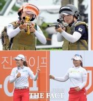 [TF사진관] '춤추고·총들고!'…미녀골퍼들의 유쾌한 퍼포먼스
