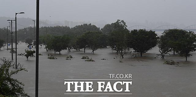 지난 9일 서울과 한강 상류 지역의 집중호우와 팔당댐 방류량 증가로 서울 반포한강공원 일대가 물에 잠긴 모습. /이효균 기자