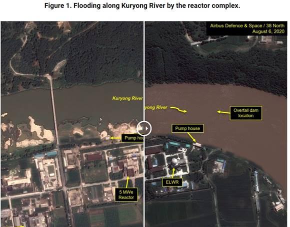 북한 위성분석으로 잘 알려진 미국매체 38노스는 12일(현지시간) 보고서에서 북한 영변 핵시설이 이번 홍수로 인해 손상됐을 수 있다고 전했다. /38노스 캡쳐