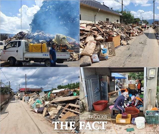 13일 오후 최악의 수해 흔적이 고스란히 남아 있는 가운데 복구 작업이 한창인 남원 용전마을 풍경. /허주열 기자