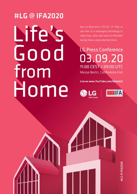 현지시간으로 다음 달 3일 오전 11시 독일 메세 베를린에서 진행되는 프레스 콘퍼런스에서는 LG전자 최고기술책임자인 박일평 사장이 Life's Good from Home을 주제로 미래 비전을 선보인다. /LG전자 제공