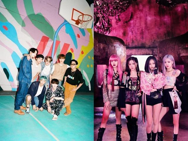 한국 가수 최초로 방탄소년단(왼쪽)이 빌보드 핫100 1위에 올랐고 블랙핑크는 2020 MTV 비디오 뮤직 어워즈에서 How You Like That(하우 유 라이크 댓)으로 여름 최고의 곡 수상자가 됐다. /빅히트·YG 제공
